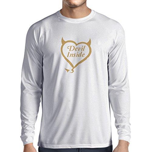 """T-Shirt mit langen Ärmeln Teufel Innerhalb """"Teufel kostümiert"""" lustige Kleidung Weiß Gold"""