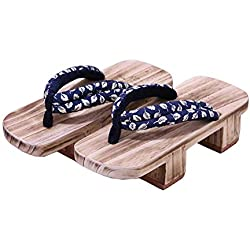 Fancy Pumpkin Zapatos tradicionales japoneses Zapatillas de cosplay Zapatillas de madera Zueco Geta Sandalias, K-07