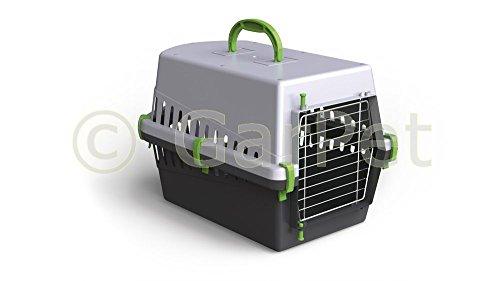 Hunde Katzen Kleintier Transportbox Transport Box Korb Auto Kennel Metalltür (grün)
