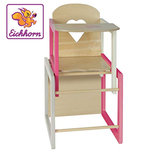 *Eichhorn 100002595 – Puppenhochstuhl mit Tisch geeignet für Puppen von 35-49cm,Größe: 30x30x57cm, Buchenholz*