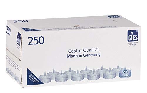 Gies 205-479000-10 Teelichte, Durchmesser 38 mm, in Metallhülsen, 8 Stunden Brenndauer, 250-er Karton, weiß -