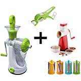 Mega Combo's 6 In 1 Vegetable Juicer & 5 In 1 Drum Grater & Slicer & Vegetable Cutter With Peeler