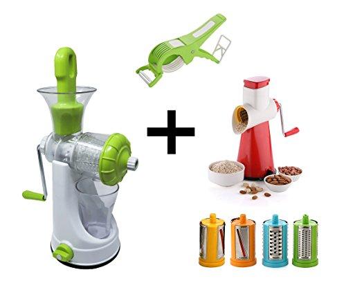 Mega Combo's 6 In 1 Vegetable Juicer & 5 In 1 Drum Grater & Slicer & Vegetable Cutter With Peeler