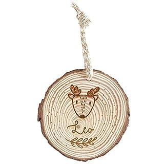 MONAMÍ – Bolas de la Navidad en Madera Personalizadas. Rodaja de Madera grabada de 8-10 cm de diámetro con Cordel Anudado.