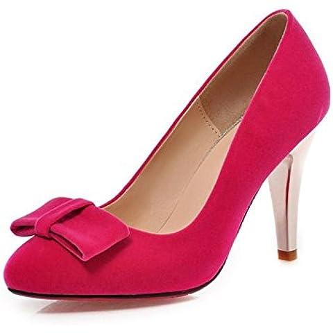 Zapatos stilettos punta/Dulce arco bajo las bombas de gamuza