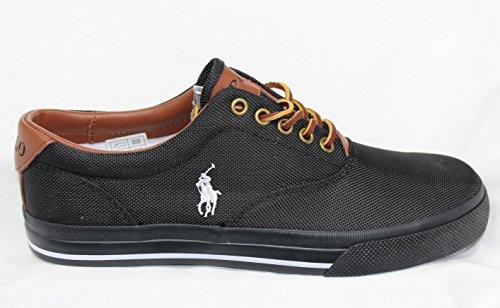 Ralph Lauren Polo Vaughn Nero Scarpe da Tennis Sneakers Retro Tela Canvas BNIB Nuovo 41.5