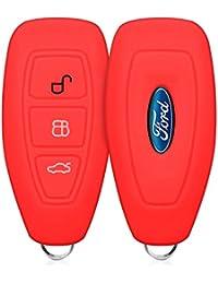 kwmobile Housse en silicone pour Ford 3-Bouton clef de voiture Keyless Go housse étui de protection clés Key Case Cover en rouge