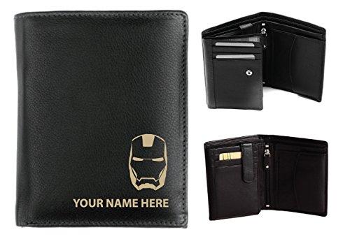 Personalisierte Herren-Geldbörse Leder–Laser markiert mit ihren Namen & Maske Design, (Maske Personalisierte)
