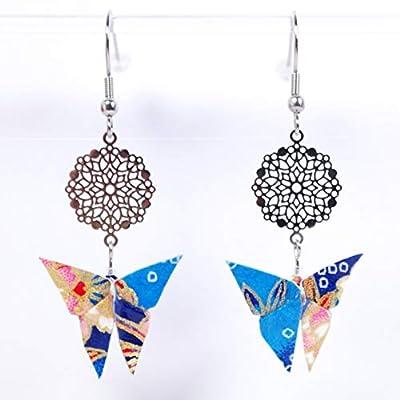 Boucles d'oreilles papillon origami bleus et roses et rosace - crochet inox