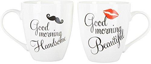 Pfaltzgraff Good Morning Beautiful and Handsome 18 Oz. Mug Set in Black...
