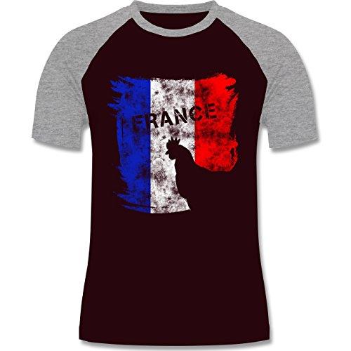 EM 2016 - Frankreich - France mit Hahn Vintage - zweifarbiges Baseballshirt für Männer Burgundrot/Grau meliert