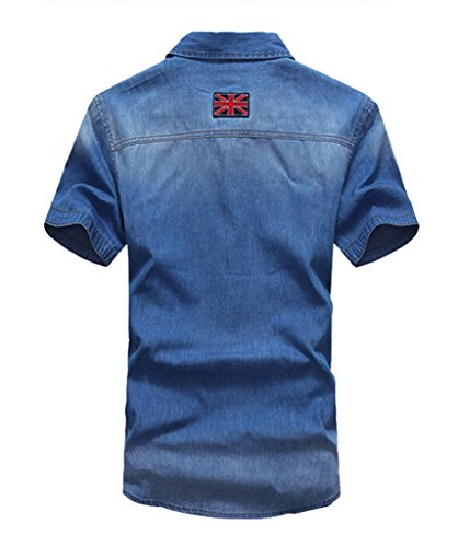 Uomo Camicia di Jeans Slim Fit a Manica Corta Casual Camicie Maglietta T-shirt Blu scuro