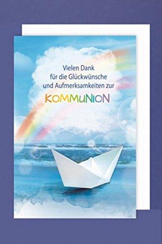 FesteFeiern zur Kommunion I 5 Teile Danksagung Karten Doppelkarten mit Briefumschlägen I Boot mit Regenbogen bunt I Danke zur Kommunion (Danke-karten Band)