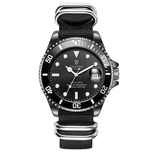TEVISE T801 Men Mechanical Watch Luxury 30M Daily Waterproof Nylon Band...
