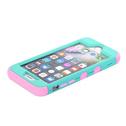 """iPhone 7 Hülle,Lantier Eleganter Luxus verzierte Bling Strass Design 3 Stück Art Dual Layer Hybrid Stoß harten Autoschutzhülle für iPhone 7 4.7"""" 2016 Schwarz+Pink Cute Rhinestone Mint Green+Pink"""