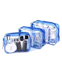 LIVACASA 3PCS Travel Toiletry Bag Set PVC Clear Bag Packs Waterproof Plastic Transparent Make Up Bag Organizer Case Storage Cosmetic Bag Zipper Shower Bags Business Bathroom Toiletry Carry Pouch Women