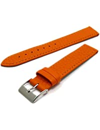 Super Soft Cow Hide Leather Watch Strap by Condor Orange 18mm Wide Chrome (Silver Colour) Buckle 348R.19