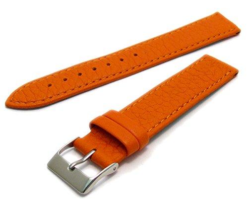 Super Soft Cow Hide Leder Uhrenarmband von Condor orange 16mm breit, chrom (Silber Farbe) Schnalle 348r.19