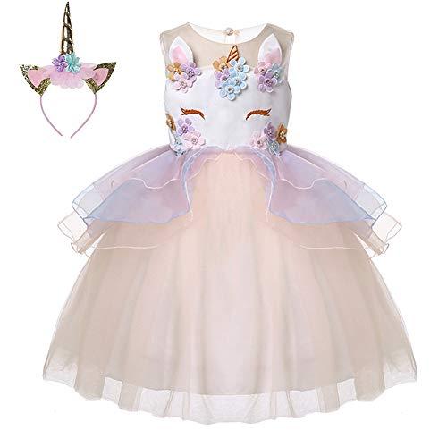 LZH Mädchen Einhorn Party Kleid Blume Rüschen Cosplay Geburtstag Prinzessin - Karneval Kostüme Jugendliche