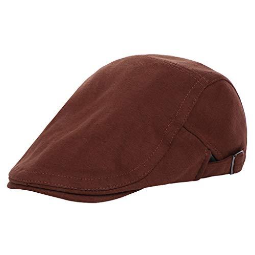 echo4745 Baskenmütze Mode Casual Schirmmütze Damen Herren Schiebermützen Unisex Barett Hut Baseball Cap aus Baumwolle Einfarbig Flache Kappe