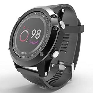 WYZBD Outdoor-Sportuhren, intelligentes Armband, Überwachung der Herzfrequenz Blutsauerstoff-Wasserdichte Uhren,Black
