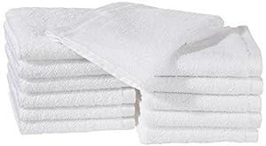 AmazonBasics - Paños de algodón (30 x 30 cm), pack de 12 - Blanco