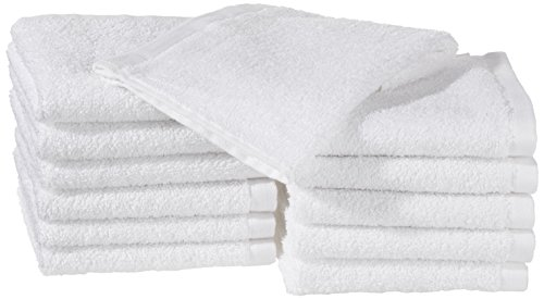 AmazonBasics - Asciugamani in cotone, confezione da 12, bianco