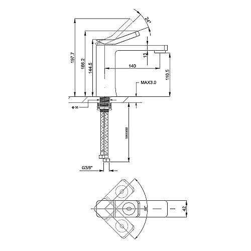 Homelody – Waschtisch-Einhebelarmatur, ohne Ablaufgarnitur, Luftsprudler, Keramikkartusche, Schwarz - 6
