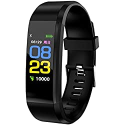 TOOGOO 115plus Smart Bracelet Fitness Tracker Step Counter Smartband Recordatorio de Llamada Anti-Lost para Android iOS (Negro)