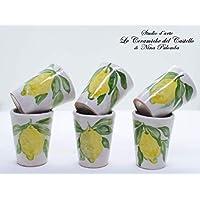 n. 6 Limoncello Glasses Lemon Line Decorated Unique Manufact Handmade Le Ceramiche del Castello Made in Italy Dimensions : 6,5 x 5 centimeters each one