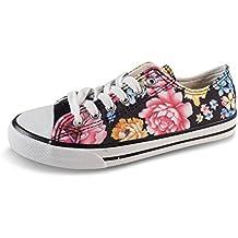 8ba4a8b82c81 Schuhtraum Damen Sneakers Schnürer Halbschuhe Blumen Low Top Geblümt Bunt  Slipper JS802