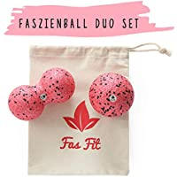 Preisvergleich für Faszienball Duo Set (Härtegrade und Farben zur Auswahl) : Einzel- und Duoball + Baumwolltasche + Farbiges, 16seitiges Übungsheft und eBook