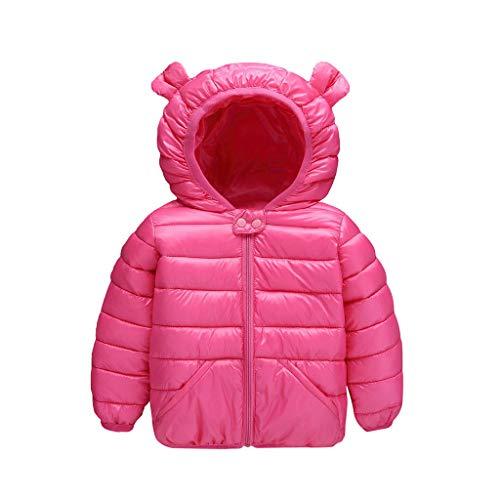 LEXUPE Jacke Baby Kapuzenmantel Frühling Coat Herbst Mäntel Kind Winterjacke Mantel Unisex Kapuzejacke Kleinkinder Steppjacke Mädchen Outerwear mit Kapuze(A-Pink,120)
