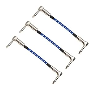 Hemobllo 3 STÜCKE Rechts Zu Rechts Instrument Kabel Gitarre Patchkabel für Bass Keyboard Effektpedale-Blau Weiß Grid (15 cm)