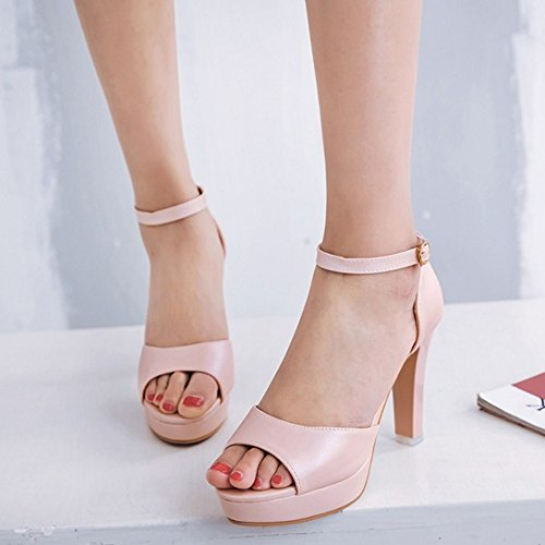 COOLCEPT Femmes Mode Cheville Sandales Peep Toe Bloc Plateforme Chaussures Rose