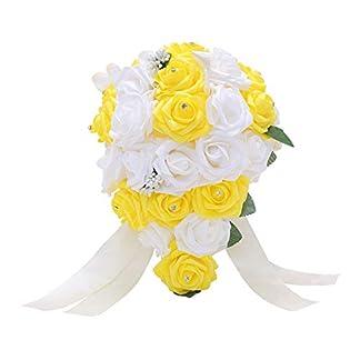Feli546Bruce Ramo de Novia de Boda, 1 Ramo de Rosas Artificiales de estrás para decoración de Bodas, Bodas, Ramo de Damas de Honor, Ramo de Novia, Amarillo, Talla única