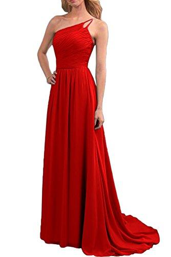 Gorgeous Bride Schlicht Ein-Träger Lang A-Linie Chiffon Schleppe Abendkleider Lang Cocktailkleider Ballkleider Rot