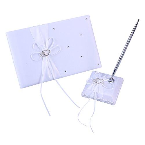 BESTOYARD Hochzeit Gästebuch und Stift legen Satin Bögen Signatur Buch mit Stift für Hochzeit Dekorationen (weiß) - Dekore Material Die Für Partei