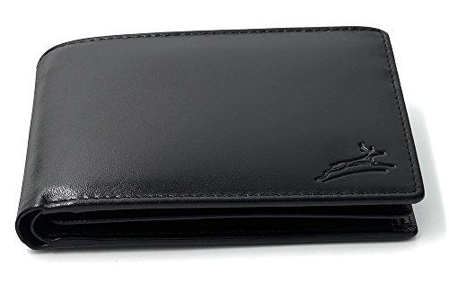 Praktische schwarze Ledergeldbörse aus besonders hochwertigem Leder mit RFID-Schutz Querformat Brieftasche Geldbeutel #SQ15111 (Herren Brieftasche Schwarze)