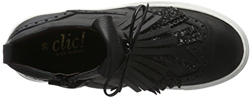 CliC Sneaker, Baskets Basses Fille Noir - Schwarz (Napa/Glitter G Negro)
