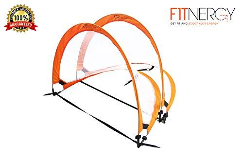 Faltbares Fußballtor von F1TNERGY - 2 Premium Durable Orange 1,2 M (4 Ft) Tragbare Netze & KOSTENLOSE Tragetasche Einfache Ziele für Kinder