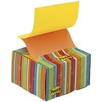 Post-it Z-notes - Notas autoadhesivas (76 x 76 mm), diseño con dispensador a rayas, color amarillo y naranja