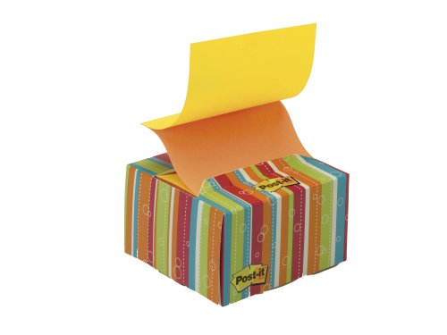 Post-it Haftnotizen 76 x 76 mm, in dekorativem Spender mit Streifen-Design, Neongelb / Orange