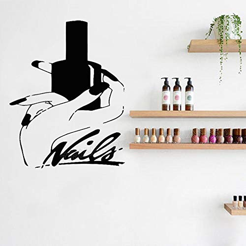 56X70 cm Nail Stylist Nail Polish Girl Hand Wall Decal Nails Art Manicure Pedicure Service Stickers Home Decor Girls -