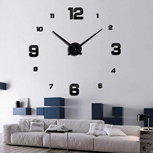SHS Mute DIY Reloj de Pared con Adhesivo 3D, Sin Marco, Tamaño Grande, Para Decorar La Oficina o Casa,Plateado-2...