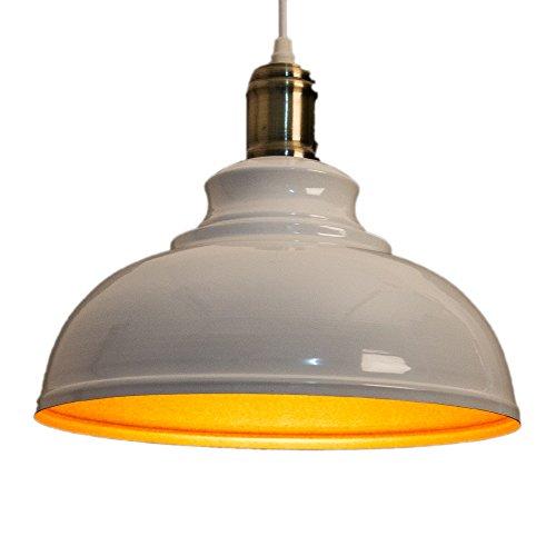 Métal Antique Plafonnier Suspensions Luminaire Industrielle Retro Plafonnier Luminaire Vintage Suspensions Luminaire Lustre Edison de Culot E27 Plafond Lumiere Luminaire(Blanc)
