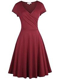 621e475e7 Belle Poque®Vestido Vintage Color Liso Años 50 Cuello V Cruzado Para Mujeres  314