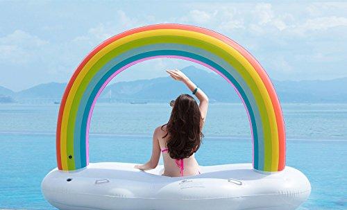 Jasonwell Nube de Arcoíris Hinchable colchonetas Piscina Inflable Flotador Gigante Tumbona Flotadora para Adultos y Niños Juguete Hinchables para Fiesta de Piscina