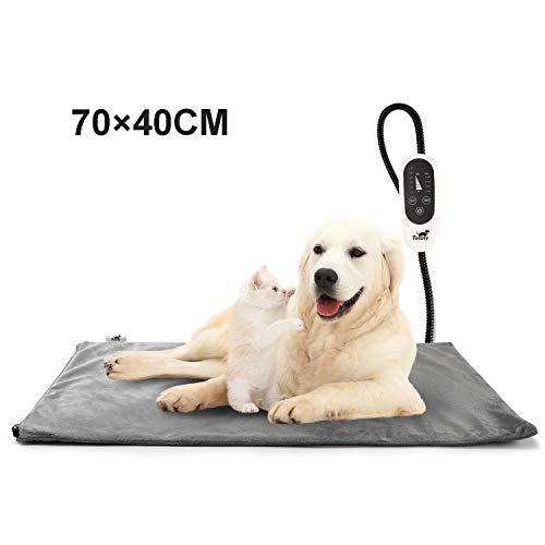 Toozey Katzen & Hund Heizmatte Innen, Timing & Temperatur Einstellbar Sicher Elektrisch Haustier Heizdecke mit Kristall Samtbezug für Neugeborene/Klein/Altere Katze und Hunde XL (70 * 40cm)