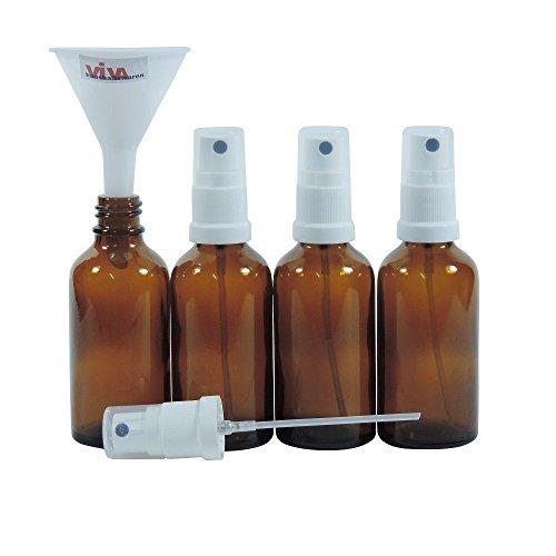 Viva Haushaltswaren - 4 x Apotheker-Sprühflasche 50 ml aus Braunglas, kleine Glasflaschen mit Zerstäubereffekt - Made in Germany & BPA frei (inkl. einem Trichter Ø 5 cm) Test